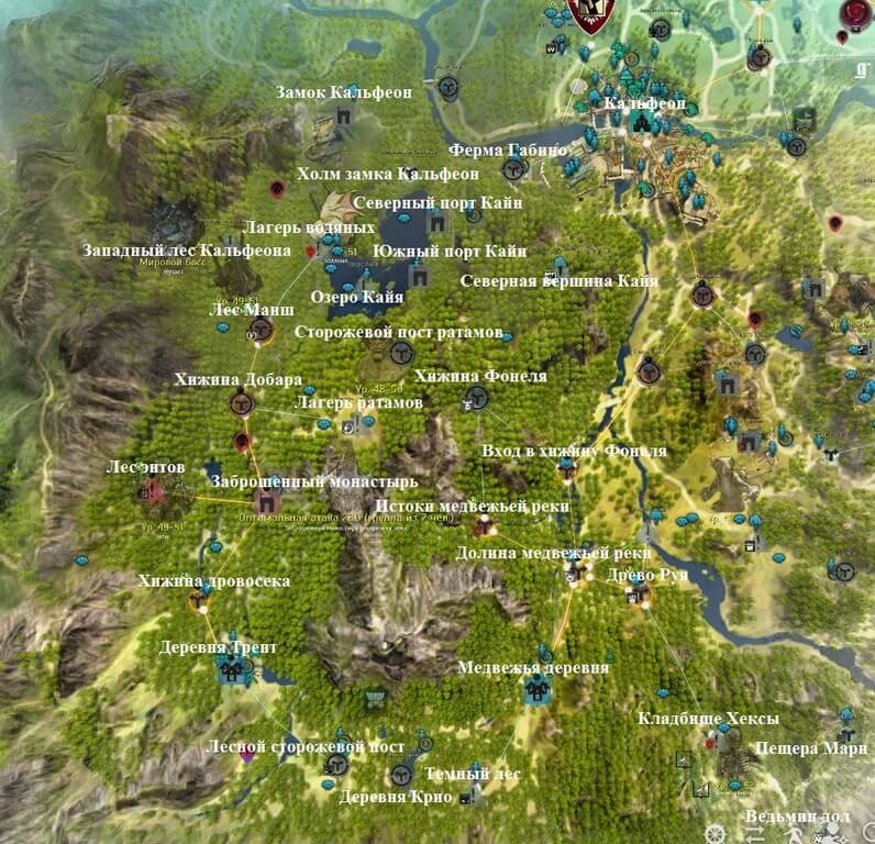 Карта Юго-запад Кальфеона