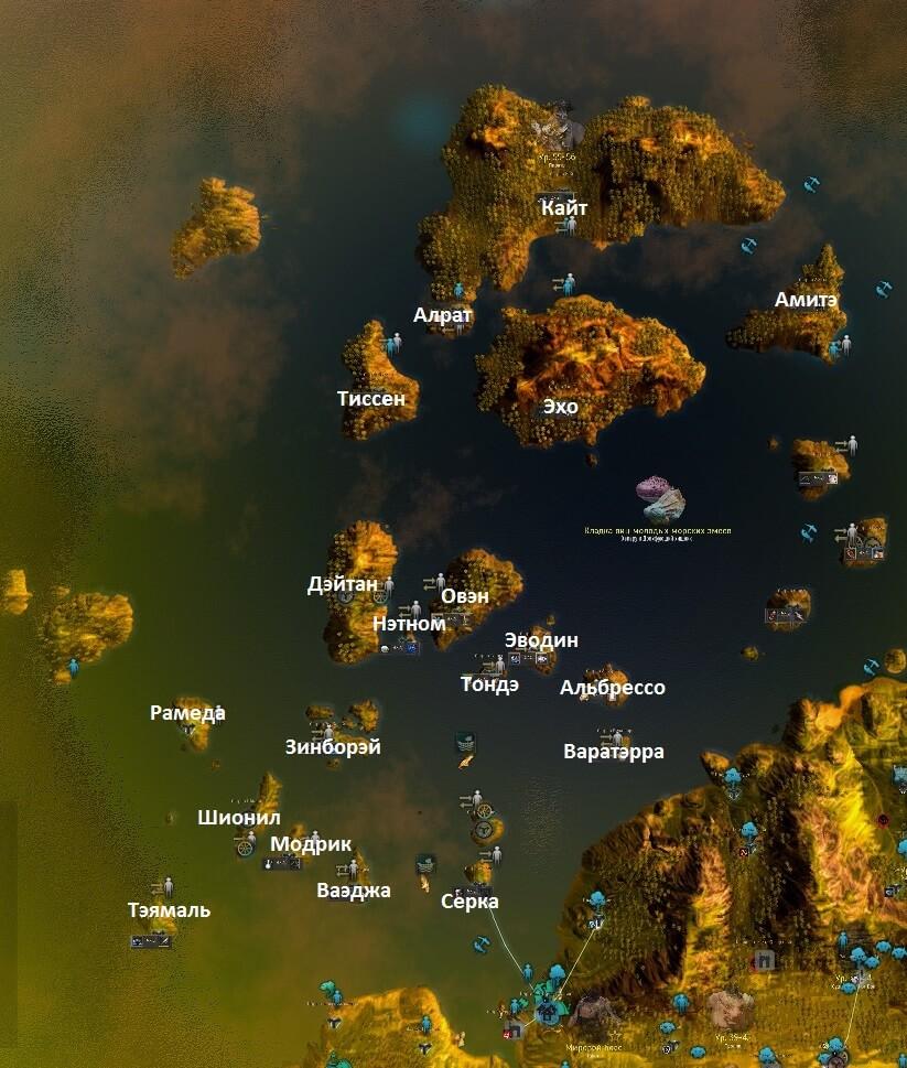 Океан Эферии и Кальфеона карта